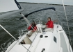 sailing onboard Hunter 27 off Deltaville Va.