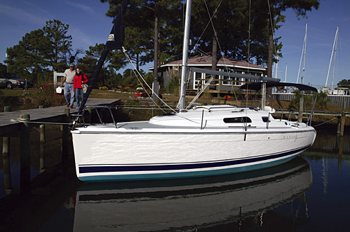 Hunter 27 lifestyle and product shots in Deltaville, Va.