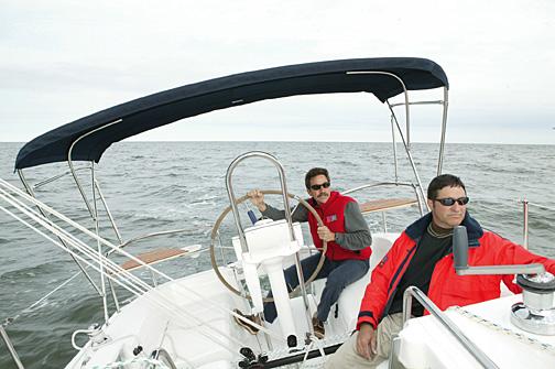 sailing onboard Hunter 27 off Deltaville Va.
