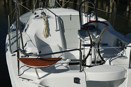 Deck details onboard the Hunter 27 in Deltaville, Va.